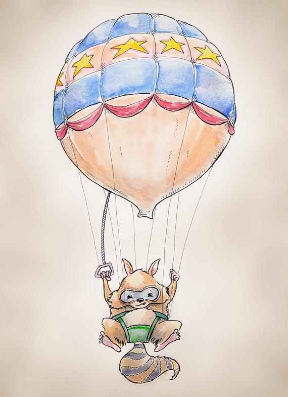 """Air Balloon Raccoon print, 8x10"""""""