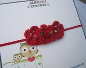Red Crochet Trio Flower Couture Headband