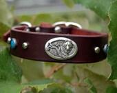 "Custom Leather Dog Collar ""The Shy Wolf"" by Pleasant Pup Custom Leatherworks"