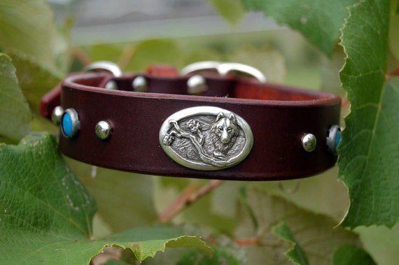 "Custom Leather Dog Collar ""The Shy Wolf"" by Pleasant Pup Custom Leatherworks"