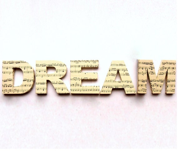 DREAM Door Sign Mounted Lettering Letters Sheet Music Custom Home Decoration Wall Decal Decor Ornament