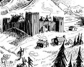 """Original published RPG art """"Approaching the Town"""" from GoodmanGames DCC Series by Stefan Poag"""