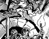 """Original published RPG art """"Half Troll Rogue"""" from GoodmanGames DCC Series by Stefan Poag"""