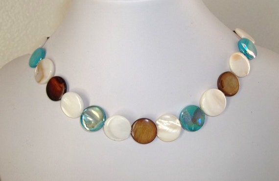 Mother of Pearl Teal Brown and Beige Necklace