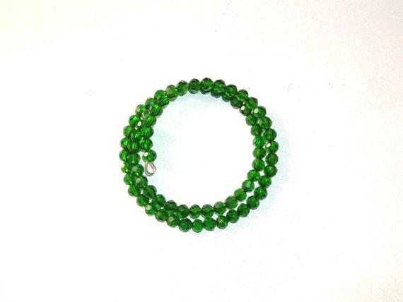Womens Emerald Green Beaded Wrap Bracelet