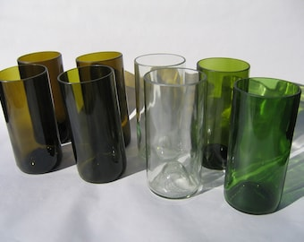 Tall Recyled Wine Bottle Glasses - Set of 8