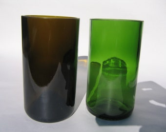 Mid Sized Recycled Wine Bottle Glasses - Set of 2