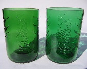 Grolsch Lager Recycled Emerald Beer Bottle Glasses - Set of 2