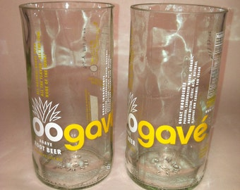 oogave Agave Root Beer with label Recycled Glass - Set of 2