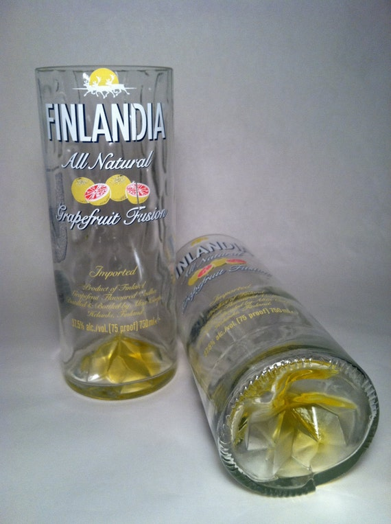 Finlandia Grapefruit Fusion Vodka Recycled Bottle Glasses - Set of 2