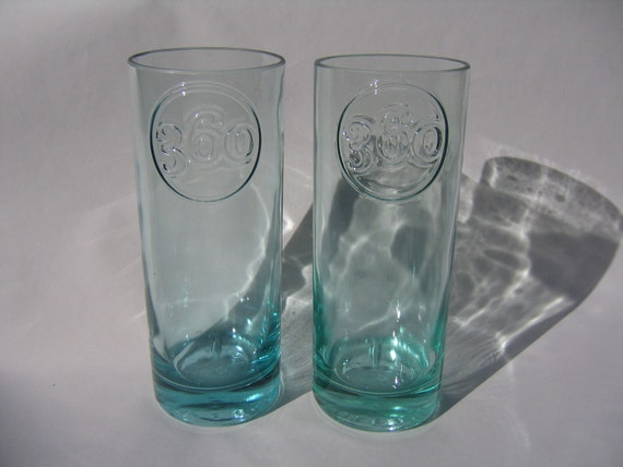 360 Vodka Recycled Bottle Tall Glasses - Set of 2