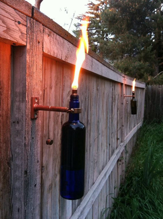 Wine Bottle Tiki Torches - Improved - Set of 2