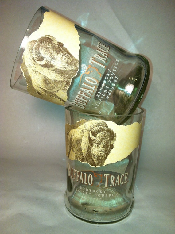Buffalo Trace Whiskey Recycled Bottle Glasses - Set of 2