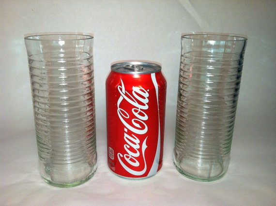 Fanta Soda Tall Recycled Bottle Glasses - Set of 2