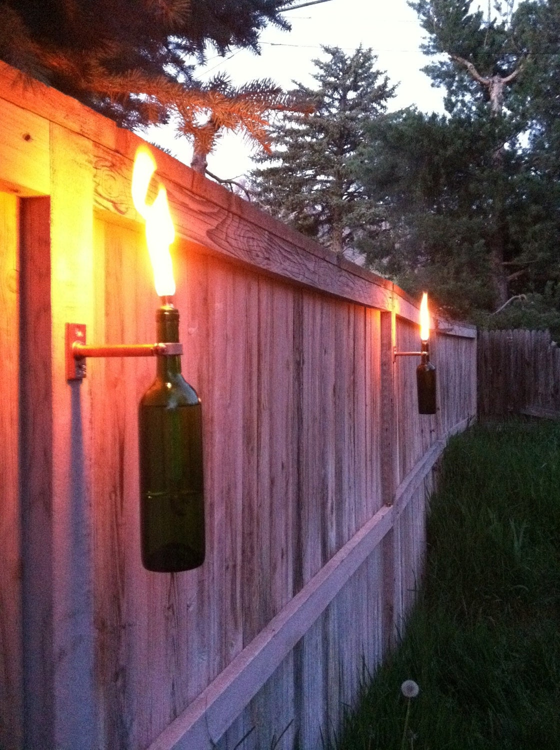 Backyard Tiki Torches : Wine Bottle Tiki Torches Improved Set of 6 by GuiltlessGlassware