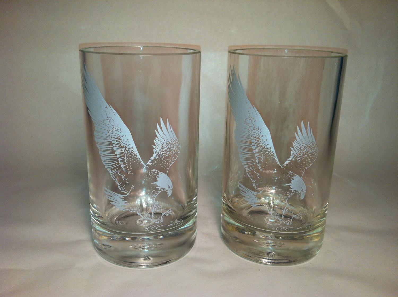 Eagle rare whiskey recycled bottle glasses set of 4 for Easy break glass bottles