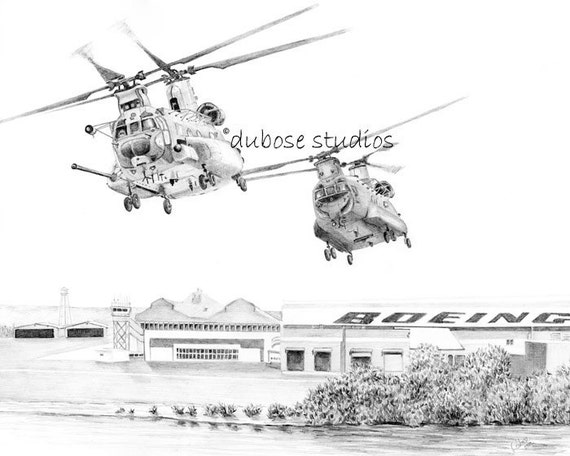 Chinook Helicopters lifting off from the Boeing plant where they were made for the US Army.