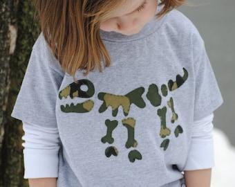 Hand sewn toddler dinosaur t shirt