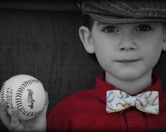 Take me out to the ball game- Boys Baseball clip on bow tie