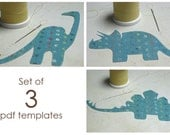 Dinosaur Set of 3 PDF applique patterns