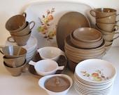 Vintage Brown/White/Orange Melamine Dishes - large set of dishes