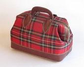 Vintage Red PlaidTote /  Doctor Bag / Purse