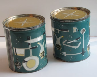 Vintage Retro Turquoise/Blue/Teal / Teal Kitchen Canisters - Set of Two