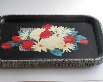 Vintage Mid Century Metal TV Trays - red rose and daisy design - set of six