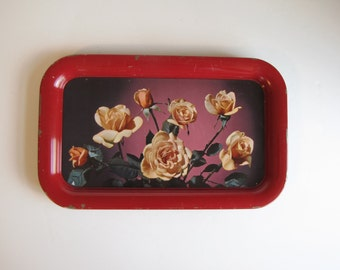 Vintage Red with Yellow Roses TV Trays