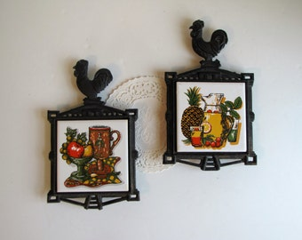 Vintage 1970's Set of Two Cast Iron Square Trivets / Hot Plate - lemonaid and fruit pattern