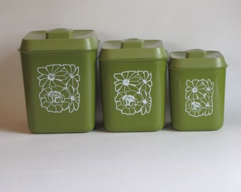 Vintage Avacado Green Canisters - Set of Three - with floral design