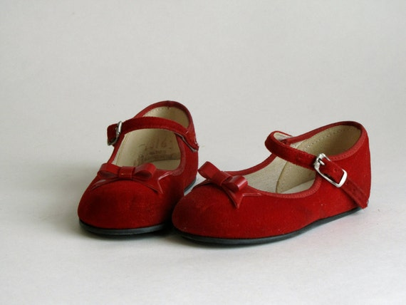 Vintage Grants Infants Baby Shoes - Red Mary Janes - Size 3.5