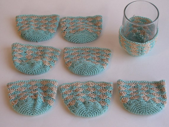 Vintage Crocheted Turqouise/Gold Cup Cozie / Cozy - Set of Eight