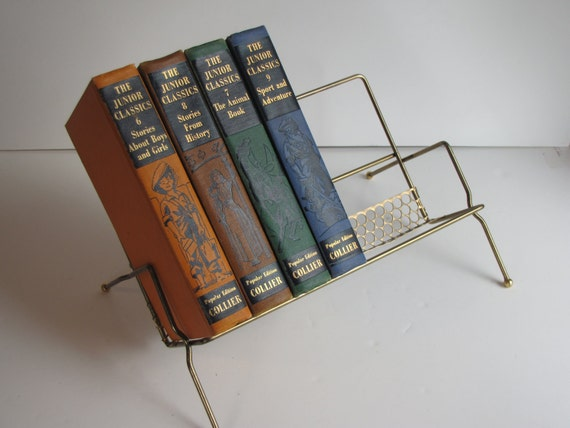 Atomic Mid Century Freestanding Wire Book Shelf  - gold