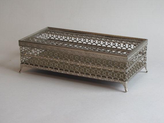Vintage Silver Tone Metal Filagree Tissue / Kleenex Box