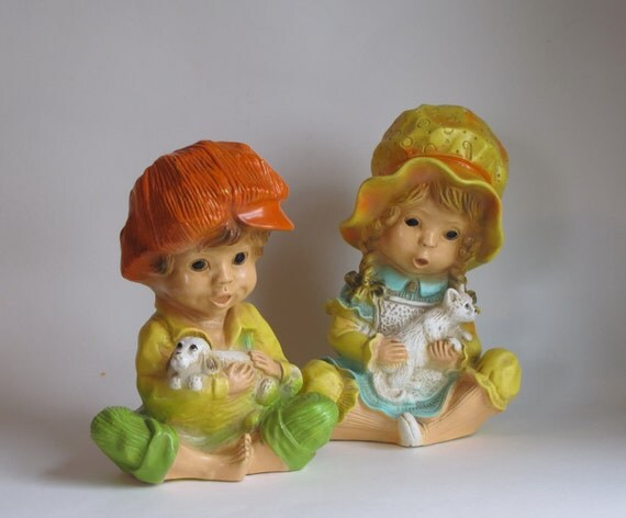 Vintage 1974 Universal Statuary - Boy with Dog and Girl with Cat Figurines - Set of Two