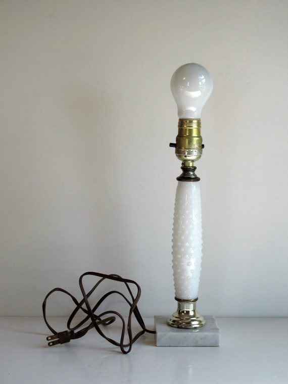 Vintage White Milk Glass Hobnail Lamp - 12.5 inches high