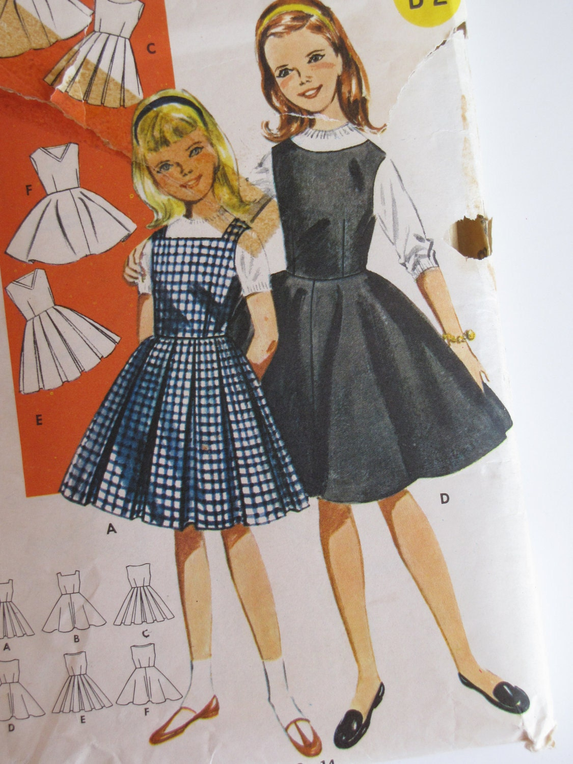 vintage 1960s girl party dressjumper with box pleats or