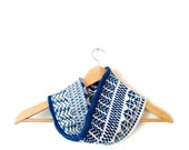 RESERVED Knit cowl in fair isle blue and white bamboo with silk. Free shipping. Mother's Day gift.
