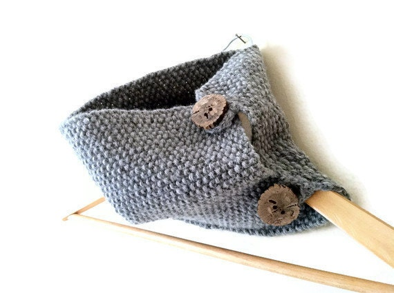 SALE Gray knit cowl with rough oak wood buttons. Free shipping.