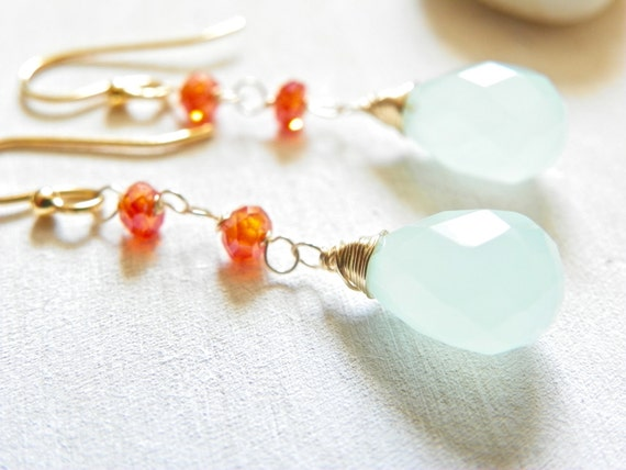 RESERVED. Bright Gemstone Earrings with Chalcedony and 14k Gold. Long Earrings for Summer. Aqua and Orange earrings. Free Shipping.