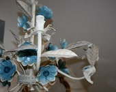 RESERVED Cream Tole Chandelier with Blue Flowers