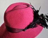 Hot Pink Fedora Style Derby Hat