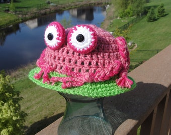 Frog On A Lily Pad Sun Hat - PDF Crochet Pattern - INSTANT DOWNLOAD