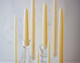 """Pure Beeswax Hand Dipped Taper Candles - 8"""" (6 pair box)"""
