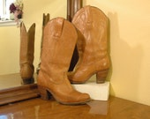 Tan Vintage Frye Cowboy Boots size 6.5 Women's Cowgirl  Western