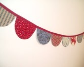 Patriotic Bunting Banner- July Fourth Bunting Banner Red, Navy Blue, Cream-Country Style Banner