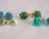 Blue and Green Flower Post Earring Gift Set-Flower Earrings-Floral Posts