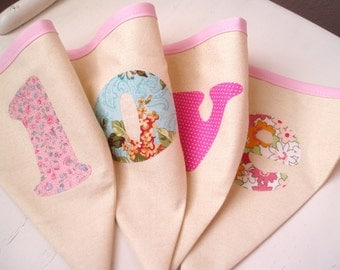 Valentine Bunting Banner-LOVE-Pink, Cream, Aqua Blue, Pink- Roses- Baby Girl Bunting- Pretty in Pink
