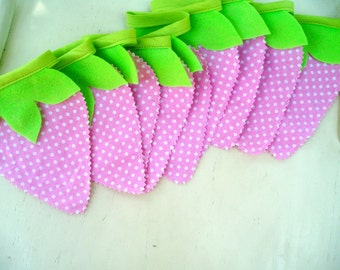 Strawberry Bunting Banner Garland-Strawberry Pink Lemonade